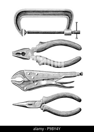 Clamp set hand drawing vintage clip art isolated on white background - Stock Photo