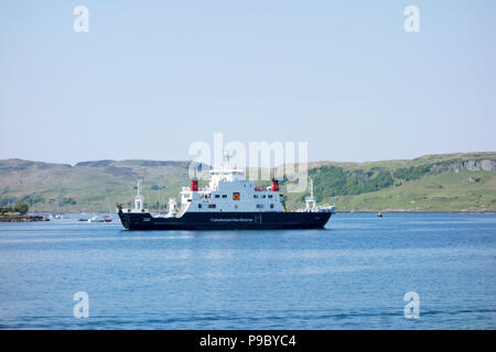 Caledonian Macbrayne the MV Coruisk Ferry approaching Oban Harbour, West Coast of Scotland, United Kingdom - Stock Photo