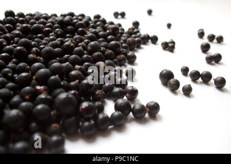 Heap of black currant berries isolated on white background close up - Stock Photo