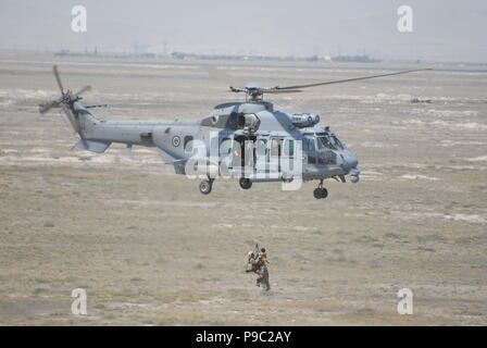 Cougar military helicopter of Royal Saudi Air Force during the personel recovery task of the Anatolian Phoenix CSAR Exercise at Konya - Stock Photo