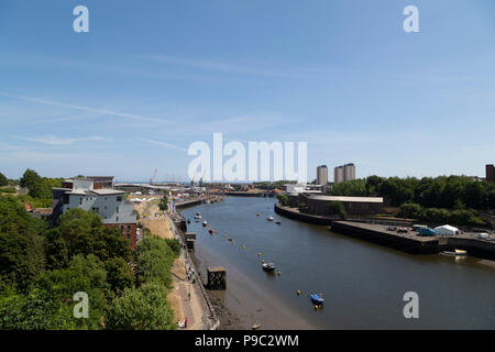 Ships docked on the River Wear at Sunderland in north-east England. Sunderland was the starting point for the 2018 Tall Ships Race. - Stock Photo