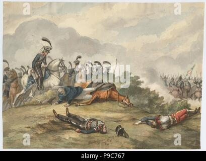 Marshal Blücher at the Battle of Ligny on 16 June 1815. Museum: PRIVATE COLLECTION. - Stock Photo