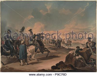 Russian cavalry attacking French infantry at Borodino. Museum: PRIVATE COLLECTION. - Stock Photo
