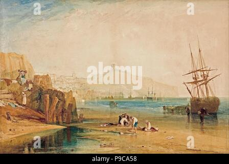 Scarborough, morning, boys catching crabs. Museum: Art Gallery of South Australia. - Stock Photo