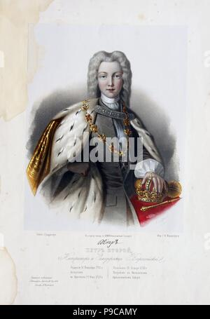 Portrait of the Tsar Peter II of Russia (1715-1730). Museum: PRIVATE COLLECTION. - Stock Photo