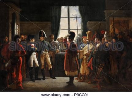 Tsar Alexander I presenting the Kalmyks, Cossacks and Bashkirs of Russian army to Napoleon I, Tilsit, July 9, 1807. Museum: Musée de l'Histoire de France, Château de Versailles. - Stock Photo