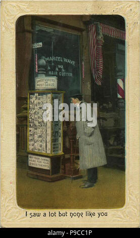 A man standing in front of postcard rack, I saw a lot but none like you - Stock Photo