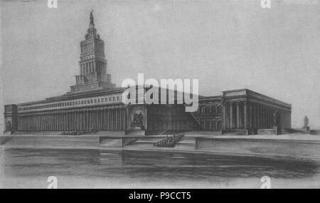Project to the architectural contest for the Palace of the Soviets. Museum: State Scientific A. Shchusev Research Museum of Architecture, Moscow. - Stock Photo