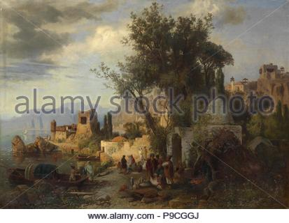 Evening by the Kura River near Tiflis. Museum: PRIVATE COLLECTION. - Stock Photo