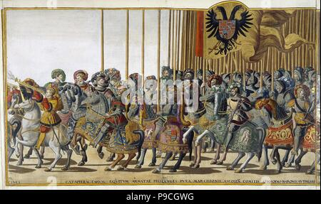 Ceremonial Procession in Bologna on the Occasion of Charles V's Coronation. Sheet 31-32. Museum: State Hermitage, St. Petersburg. - Stock Photo