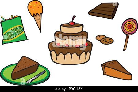cartoon vector illustration of a desserts collection - Stock Photo