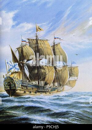 Russian ship of the line Poltava, 1712. Museum: Russian State Library, Moscow. - Stock Photo