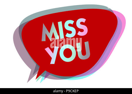 Word Writing Text Miss You Business Concept For Longing For An