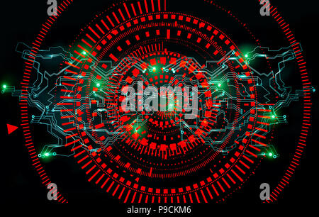Abstract futuristic cyber technology background. Big data processing. Sci-fi circuit design. Futuristic network technology design - Stock Photo