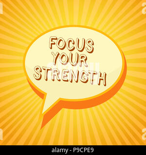 Writing note showing Focus Your Strength. Business photo showcasing Improve skills work on weakness points think more Reporting thinking ponder circle - Stock Photo