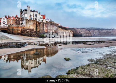 Robin Hood's Bay, North Yorkshire, England, UK, on an overcast winter morning. - Stock Photo