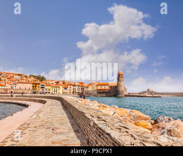 Collioure, Languedoc-Roussillon, Pyrenees-Orientales, France. - Stock Photo