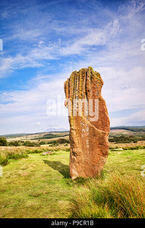 The only remaining upright stone of the Machrie Moor 3 stone circle, a 4000 year old megalithic monument on the island of Arran, North Ayrshire, Scotl - Stock Photo