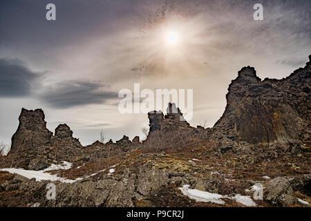 Lava outcrops at Dimmuborgir, near Lake Myvatn in northern Iceland. - Stock Photo