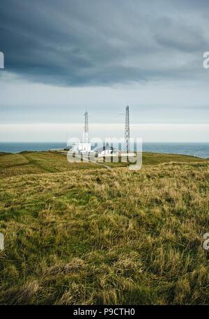 The coastal Fog Signal Station, Flamborough Head, East Yorkshire, England, UK - Stock Photo