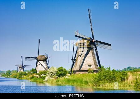 Windmills at Kinderdijk, Netherlands, Holland, Europe - Stock Photo
