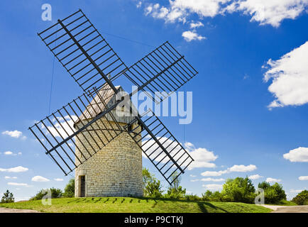 Traditional old French Windmill, Moulin a vent de Boisse, in the Lot region of Southern France, Europe - Stock Photo