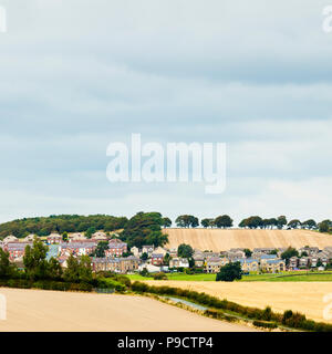 Modern housing development in the rolling hills of the English countryside, West Yorkshire, England UK - Stock Photo