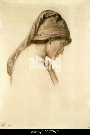 Rossetti  Dante Gabriel - Dante's Dream at the Time of the Death of Beatrice 2 8 (Study for the Head of Dante) - Stock Photo