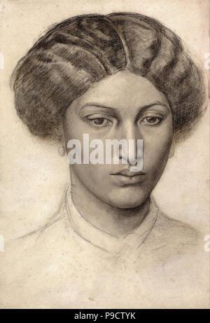 Rossetti  Dante Gabriel - Head of a Young Woman - Stock Photo