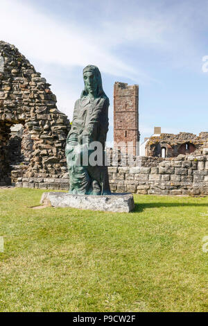 The remains of the famous monastry.  The Holy Island of Lindisfarne, - Stock Photo