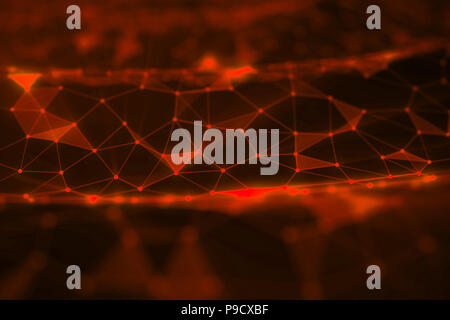 Abstract background of lines and dots, low poly mesh. Concept cloud internet connections technology connections. The current example of artificial intelligence concepts of the future, 3D illustration - Stock Photo