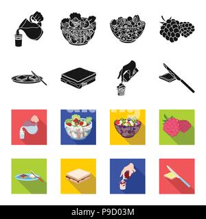 Dessert with cream, a sandwich and other food. Food set collection icons in black,flet style vector symbol stock illustration . - Stock Photo