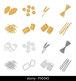 Different types of pasta. Types of pasta set collection icons in cartoon,outline style vector symbol stock illustration . - Stock Photo