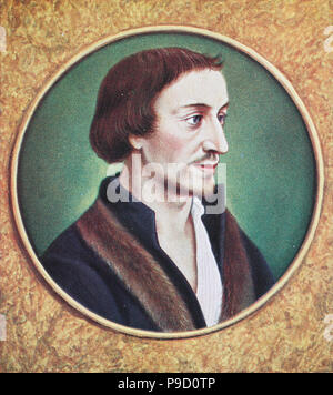Philip Melanchthon, born Philipp Schwartzerdt; 16 February 1497 – 19 April 1560, a German Lutheran reformer, collaborator with Martin Luther, the first systematic theologian of the Protestant Reformation, digital improved reproduction of an original print from the year 1900 - Stock Photo