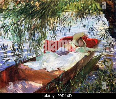 Sargent  John Singer - Two Women Asleep in a Punt Under the Willows - Stock Photo