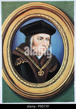 Sir Thomas More (7 February 1478 – 6 July 1535), venerated in the Catholic Church as Saint Thomas More, was an English lawyer, social philosopher, author, statesman, and noted Renaissance humanist, digital improved reproduction of an original print from the year 1900 - Stock Photo