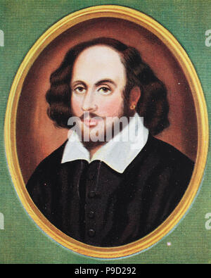 William Shakespeare; 26 April 1564 (baptised)—23 April 1616 was an English poet, playwright and actor, digital improved reproduction of an original print from the year 1900 - Stock Photo