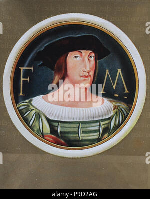 Francis I, 12 September 1494 - 31 March 1547, was the first King of France from the Angouleme branch of the House of Valois, reigning from 1515 until his death, digital improved reproduction of an original print from the year 1900 - Stock Photo
