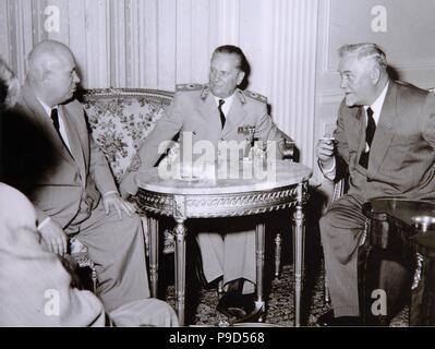 Josip Broz Tito, Nikita Khrushchev and Nikolai Bulganin. Museum: Museum of Yugoslavian History, Belgrad. - Stock Photo