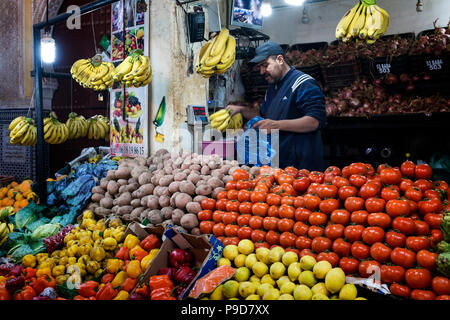 Morocco,Fes,Fruit and vegetable shop - Stock Photo