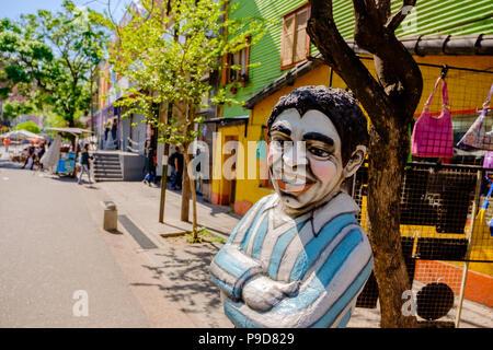 Diego Maradona statue in La Boca, Buenos Aires - Stock Photo