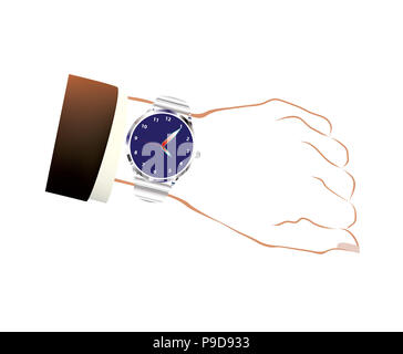 Gentleman wristwatch on white background - Stock Photo