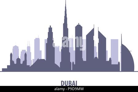 Dubai skyline silhouette - landmarks cityscape in liner style - Stock Photo