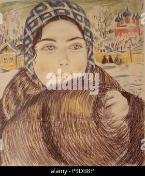 A young merchant's wife in the a checkered scarf. Museum: State Russian Museum, St. Petersburg. - Stock Photo