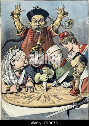 China - the cake of kings and... of emperors (Caricature). Museum: PRIVATE COLLECTION. - Stock Photo