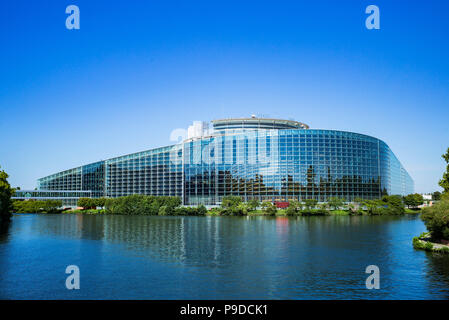 Strasbourg, European Parliament, Louise Weiss building, Ill river, Alsace, France, Europe, - Stock Photo