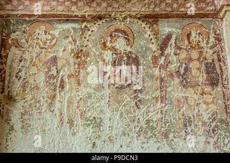 Fresco detail, Dark Church, Goreme Open Air Museum, Goreme, Cappadocia, Turkey - Stock Photo