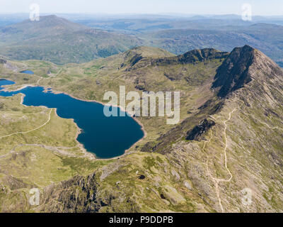Views from the summit of Mount Snowdon, Wales, UK. Mount Snowdon stands at 1,085 Meters above sea level.
