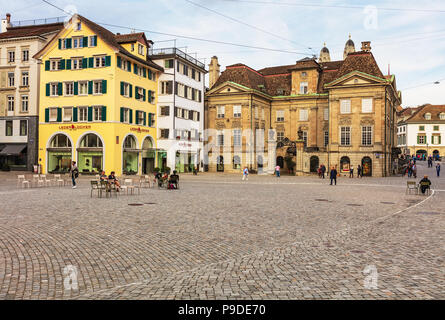 Zurich, Switzerland - September 28, 2017: Munsterhof square in the city of Zurich. Munsterhof is a town square, the largest one within the old town of - Stock Photo