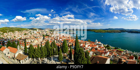 Amazing panorama view of Sibenik city in Croatia. Northern part of Dalmatia. Sunny detail of beautiful town. Summer day with blue sky and clear sea. - Stock Photo